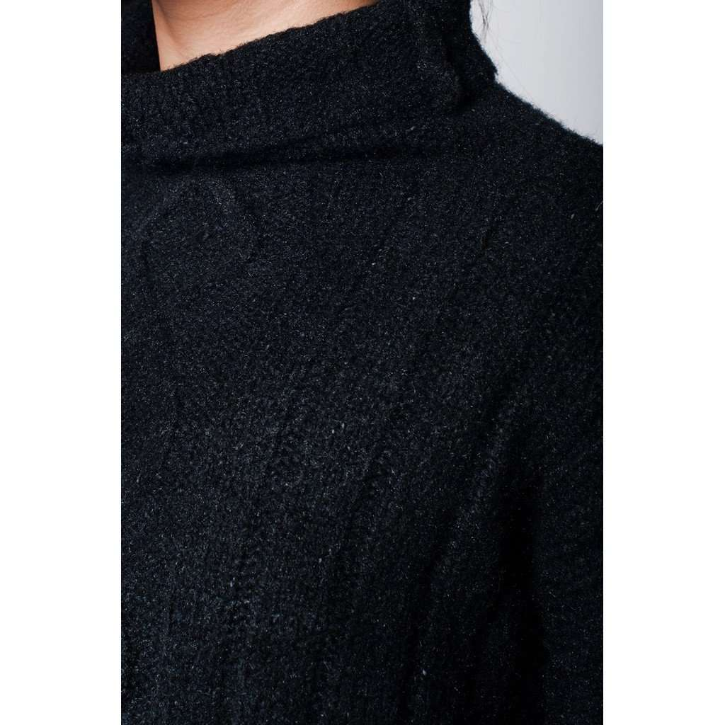 Black sweater in soft knit with side slits and turtle neckline CoolHatcher at TheArtOfLiving.Earth