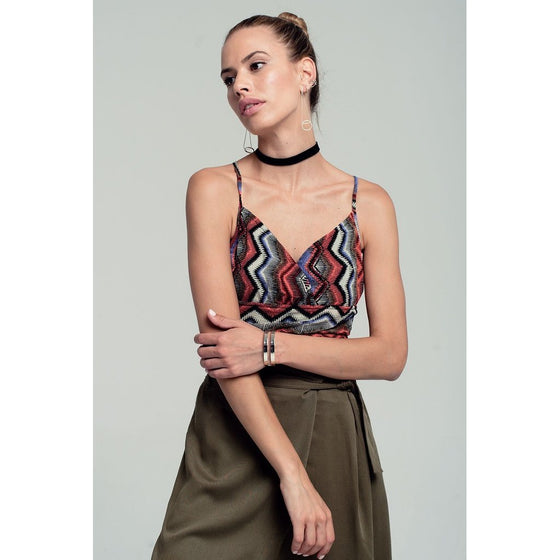 Wrap geo-tribal printed crop top in red CoolHatcher at TheArtOfLiving.Earth