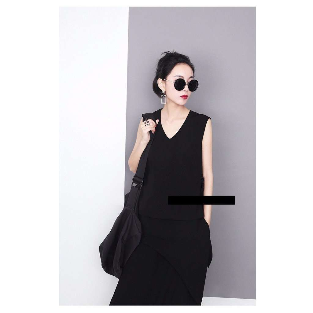 Alcott Sleeveless Fork Tail Top - Black CoolHatcher at TheArtOfLiving.Earth