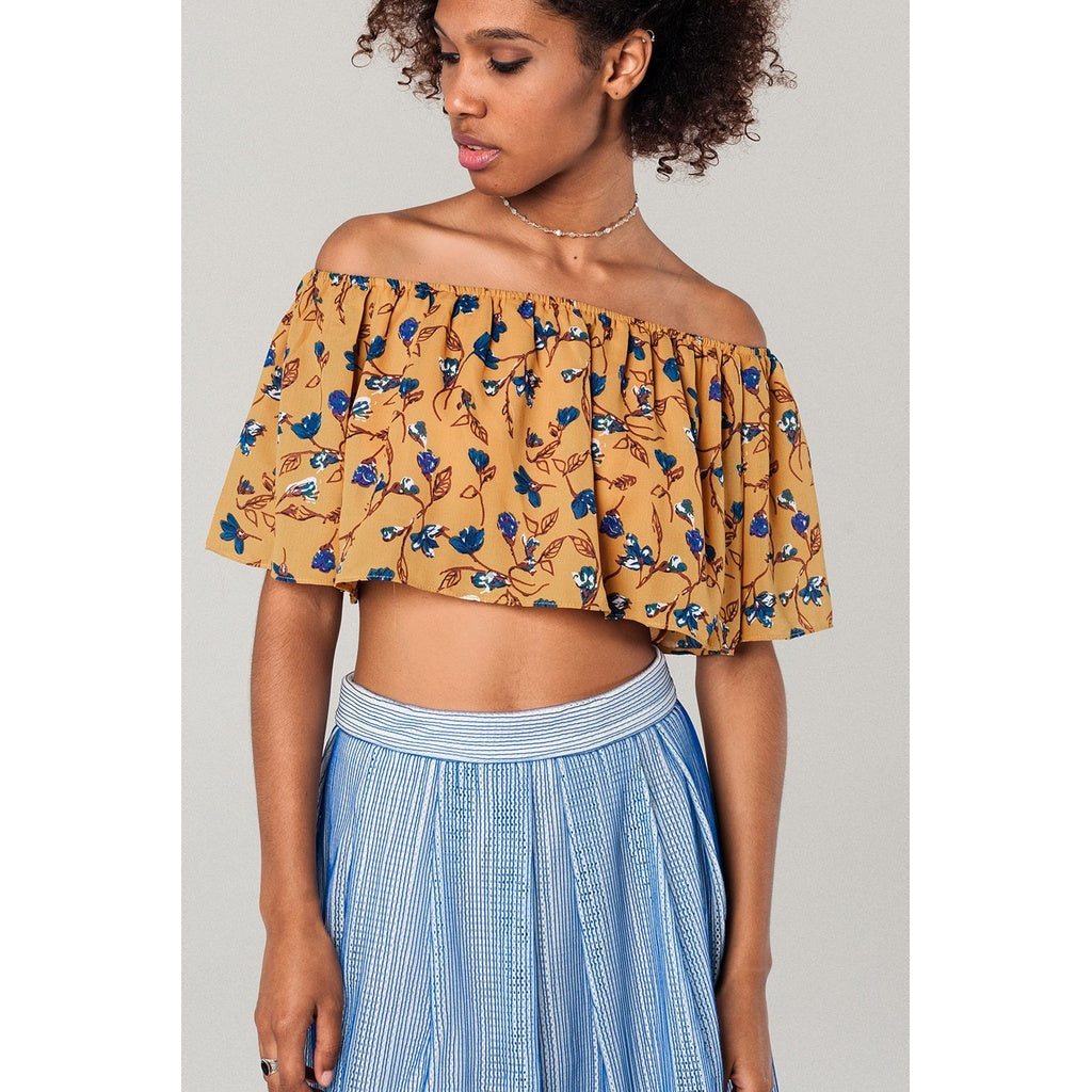 a9654267bcb1dd Earth  Off shoulder floral crop top in mustard CoolHatcher at  TheArtOfLiving.