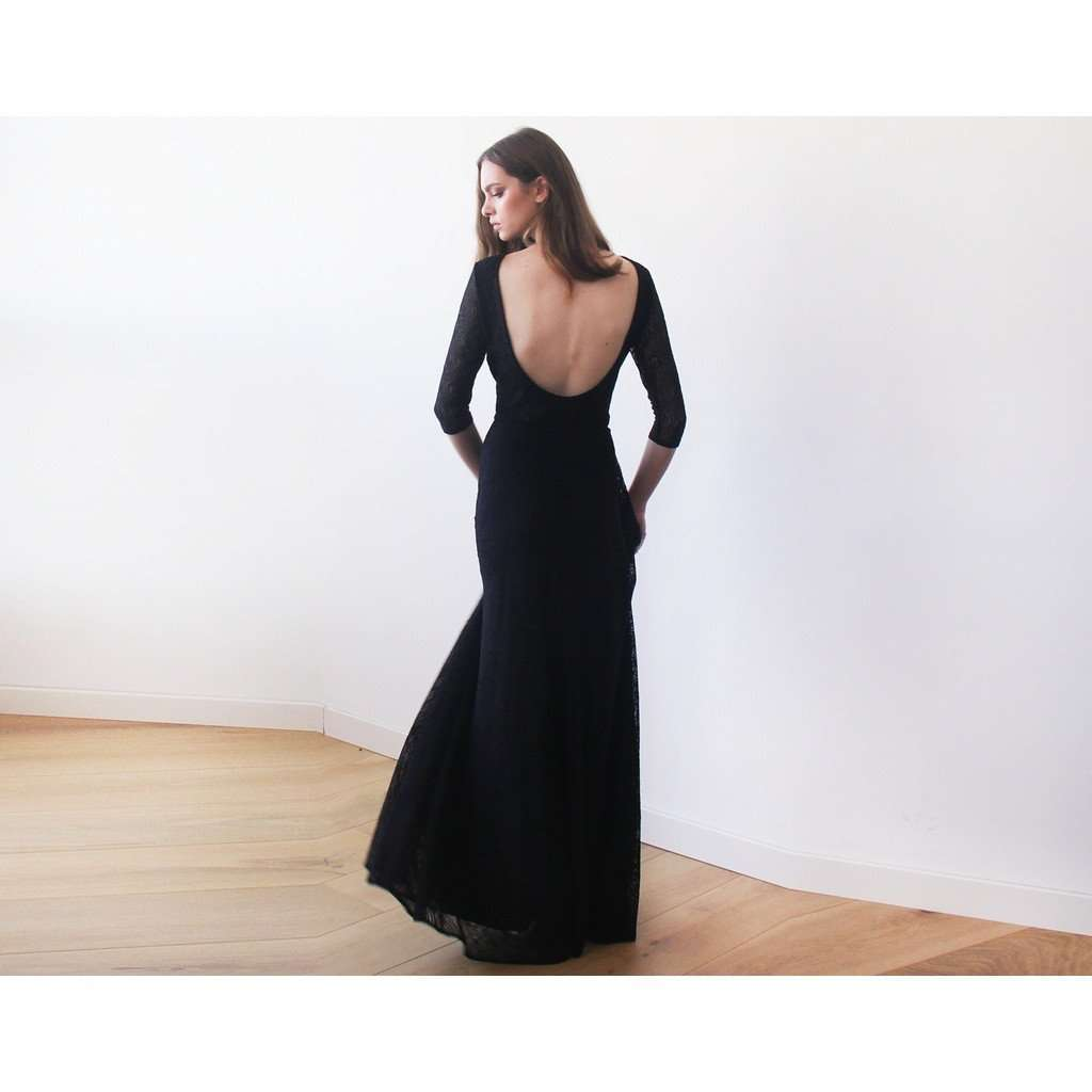 Black Floral lace Maxi Gown With Open-Back CoolHatcher at TheArtOfLiving.Earth
