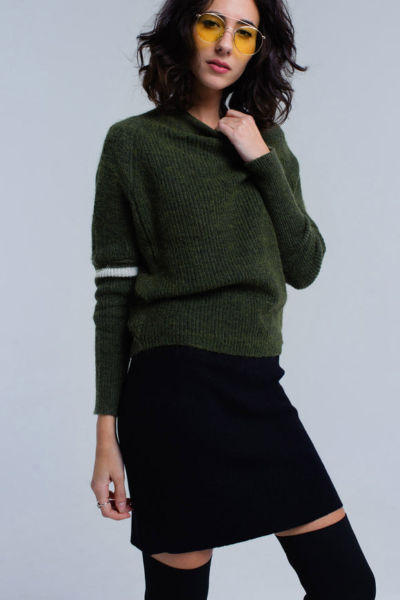 Ribbed sweater in green CoolHatcher at TheArtOfLiving.Earth