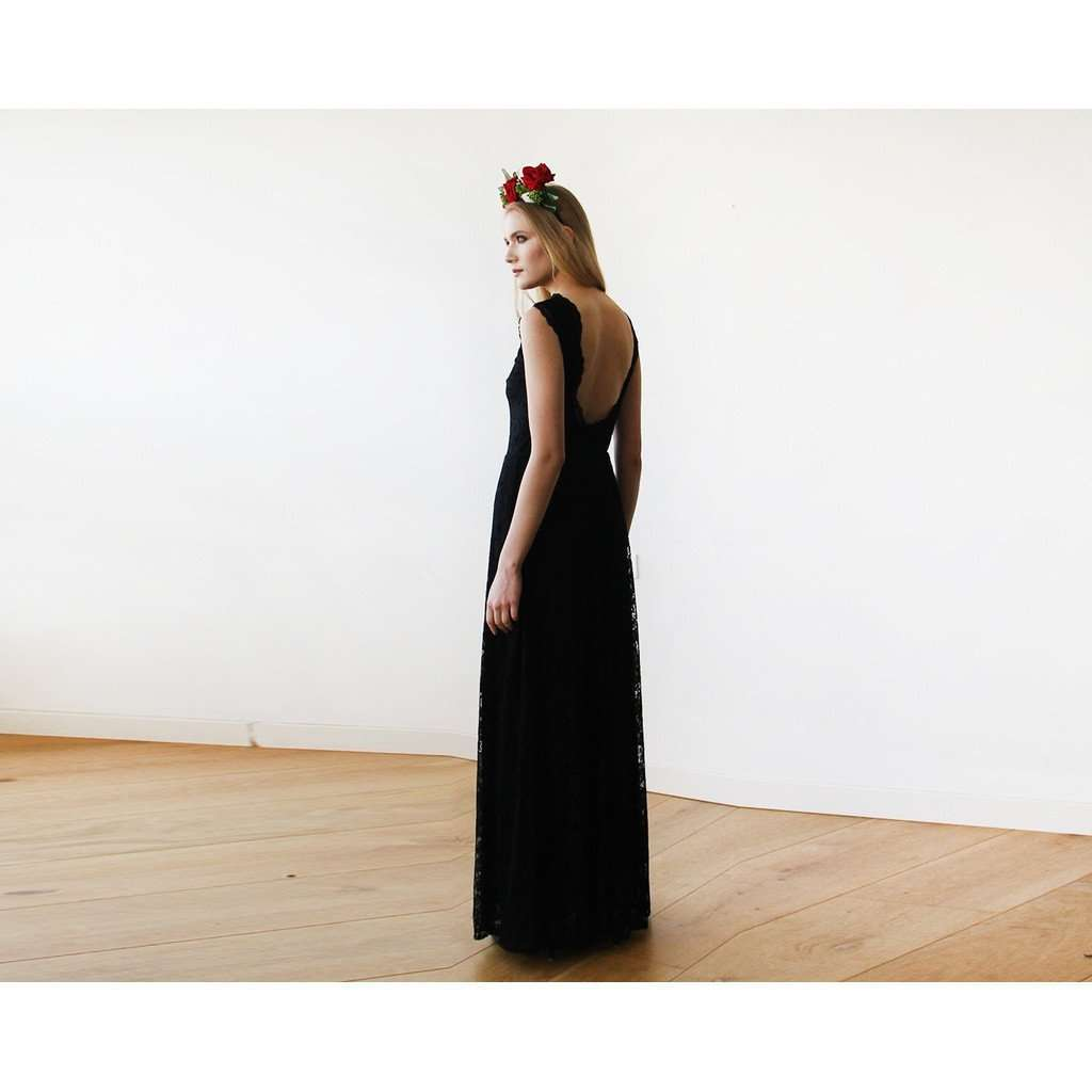 Black Lace Sleeveless Open Back Maxi Dress 1141 CoolHatcher at TheArtOfLiving.Earth