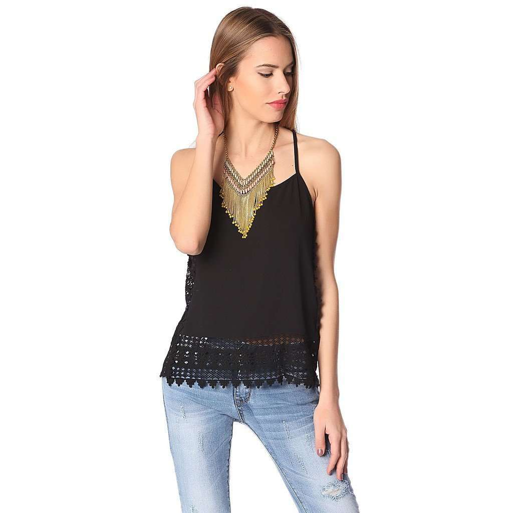 Black cami top with crochet trim CoolHatcher at TheArtOfLiving.Earth