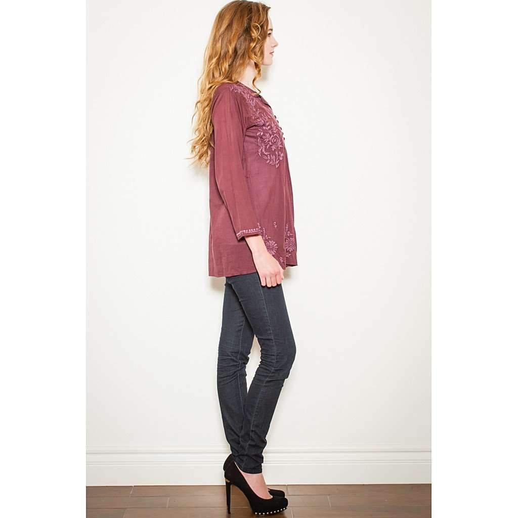 Burgundy Embroidered Tunic