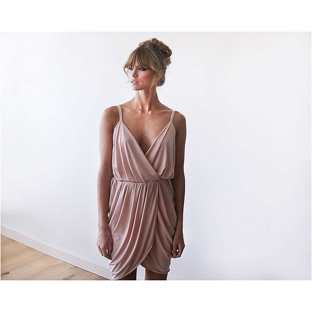 Blush Pink Mini Wrap Bridesmaids Dress