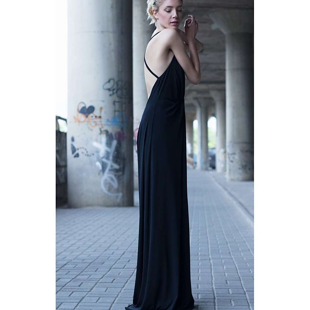 Black plunging neckline strappy dress CoolHatcher at TheArtOfLiving.Earth