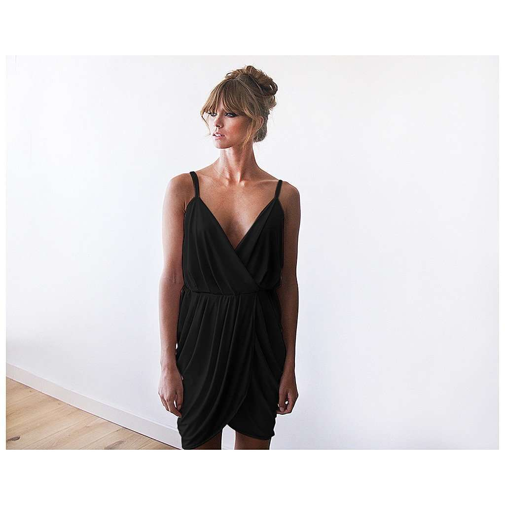 Black Mini Wrap Bridesmaids Dress CoolHatcher at TheArtOfLiving.Earth
