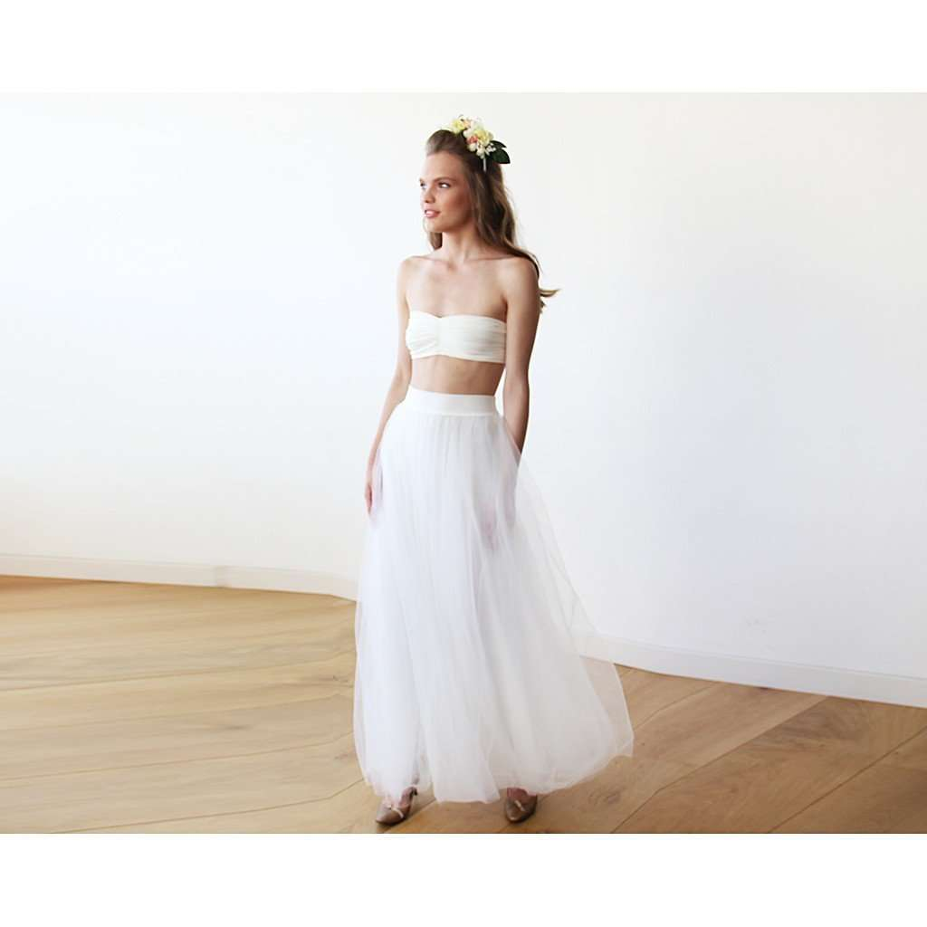Maxi ivory bridal tulle skirt CoolHatcher at TheArtOfLiving.Earth