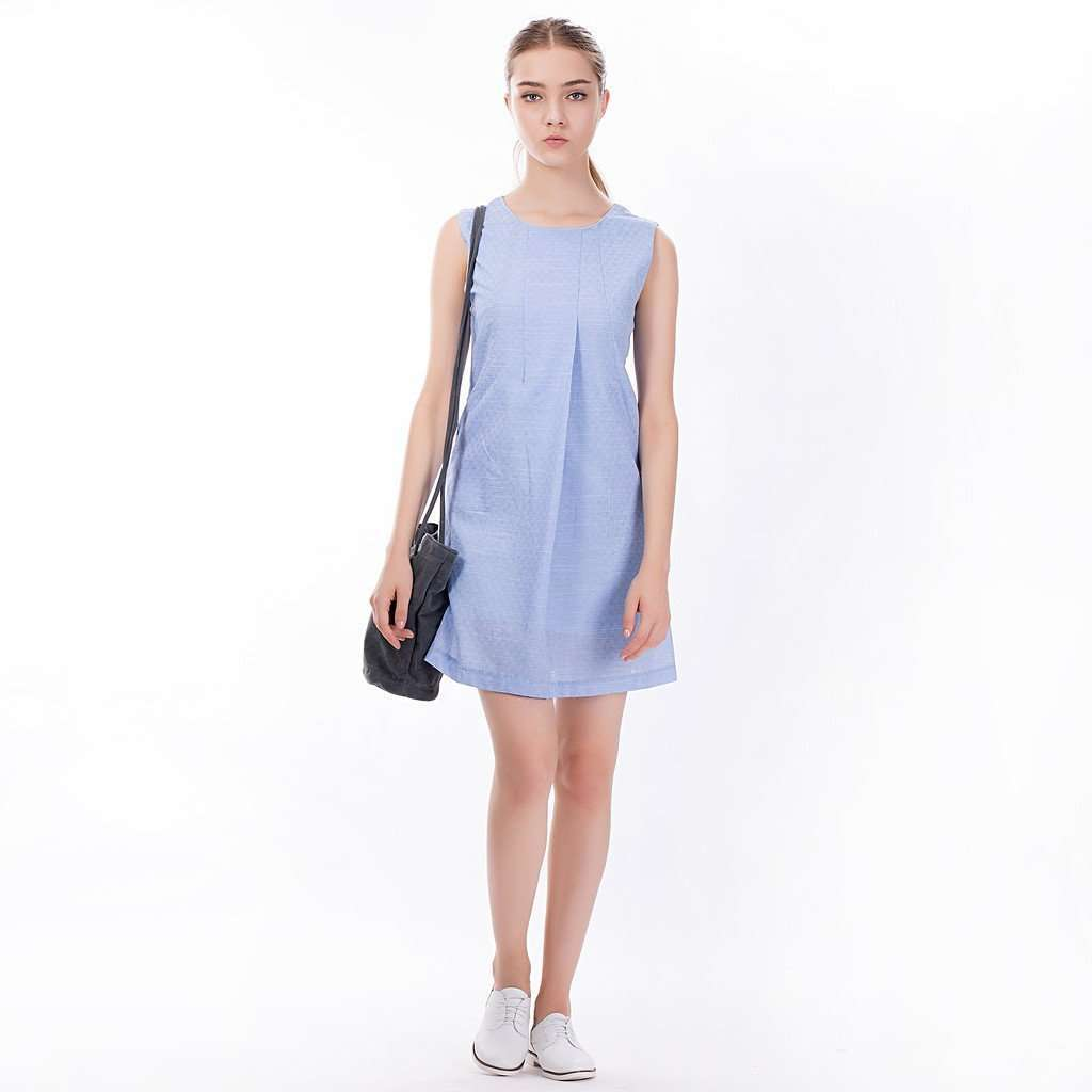 The Asymmetric Sundress in Blue CoolHatcher at TheArtOfLiving.Earth