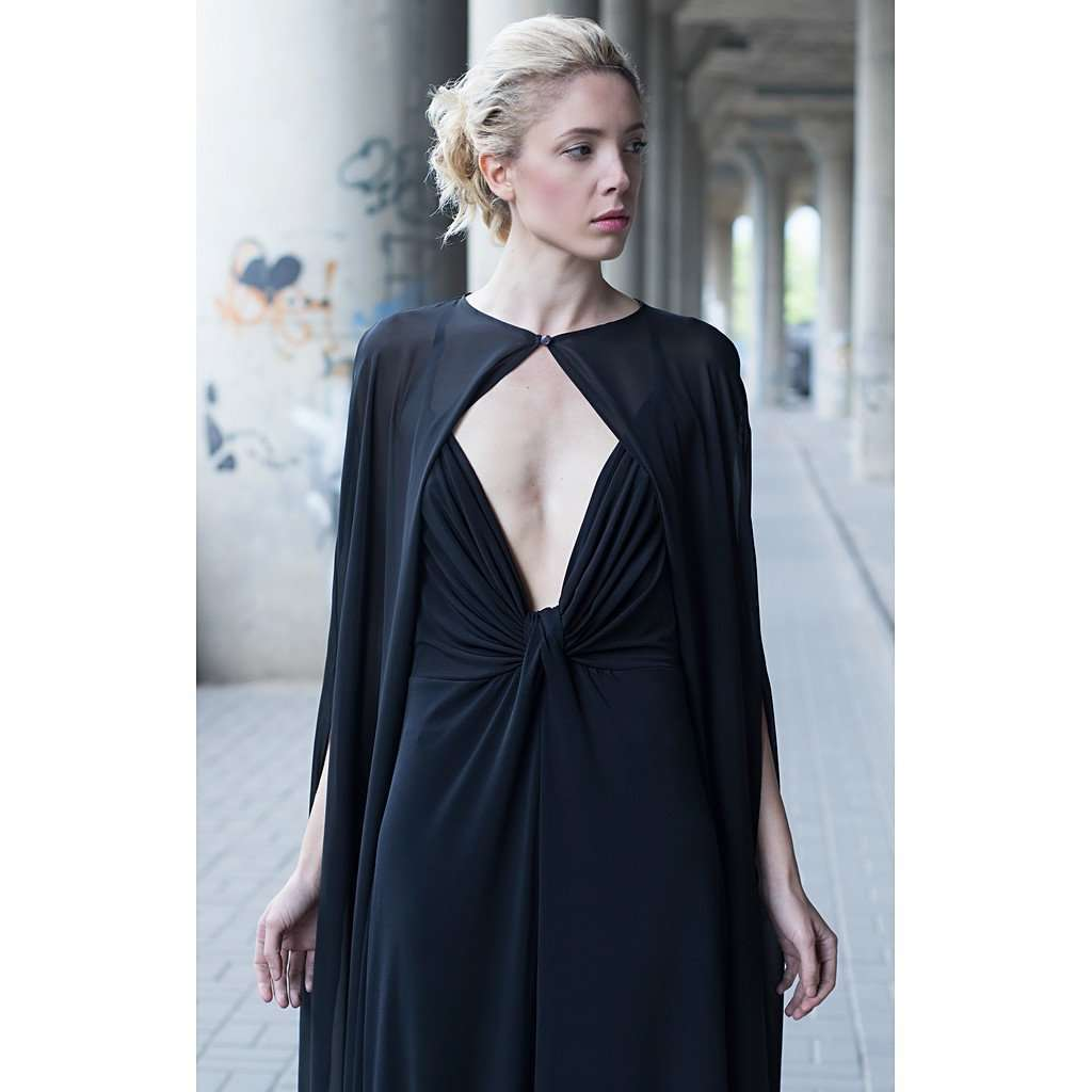 Black cape dress CoolHatcher at TheArtOfLiving.Earth