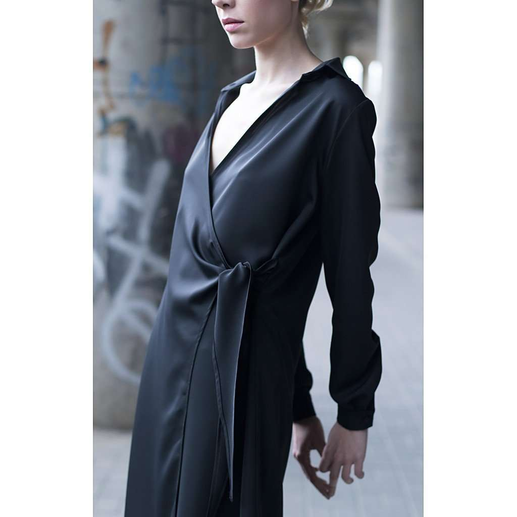 Black short shirt dress CoolHatcher at TheArtOfLiving.Earth