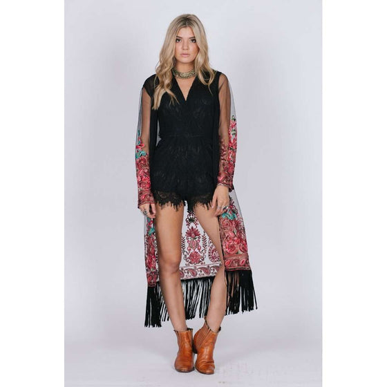 BLACK FLORAL KIMONO CoolHatcher at TheArtOfLiving.Earth