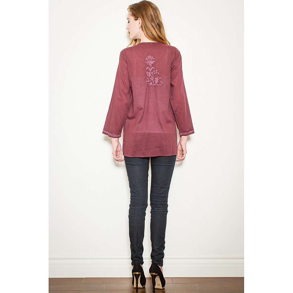 Burgundy Embroidered Tunic CoolHatcher at TheArtOfLiving.Earth