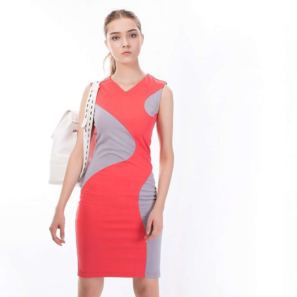 The Shape Shift Dress in Coral Red and Grey CoolHatcher at TheArtOfLiving.Earth