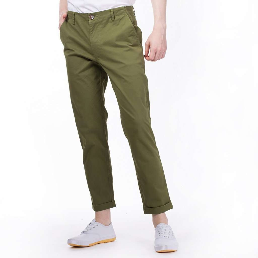 The Essential Chinos in Olive CoolHatcher at TheArtOfLiving.Earth