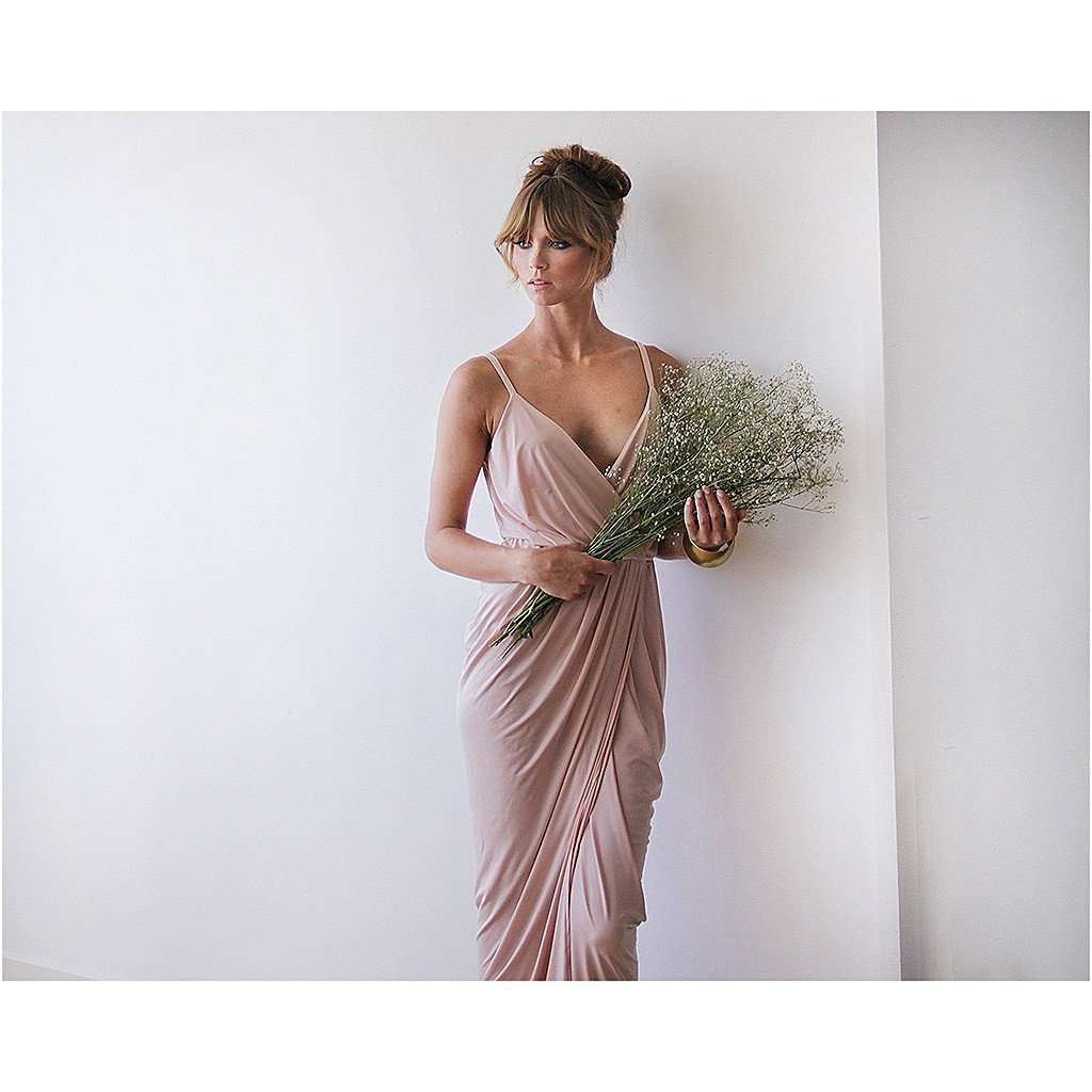 Blush pink bridesmaids maxi wrap dress CoolHatcher at TheArtOfLiving.Earth