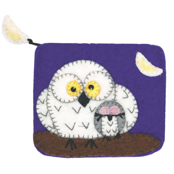 Felt Coin Purse - Night Owls - Wild Woolies (P) CoolHatcher at TheArtOfLiving.Earth