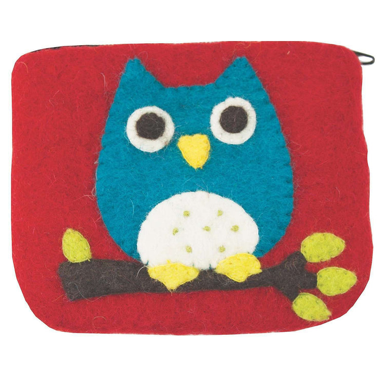 Felt Coin Purse - Owl - Wild Woolies (P) CoolHatcher at TheArtOfLiving.Earth