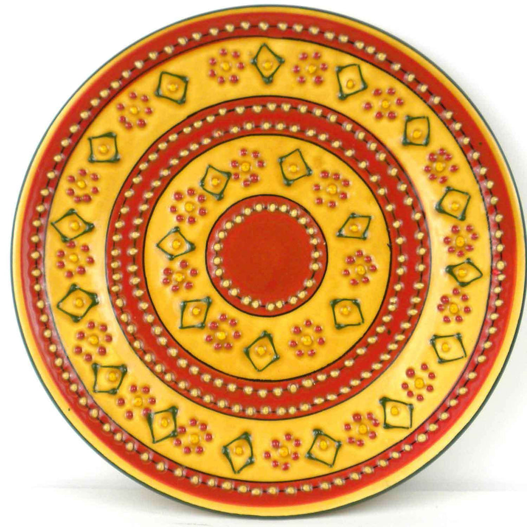 Hand-painted Round Plate in Red CoolHatcher at TheArtOfLiving.Earth