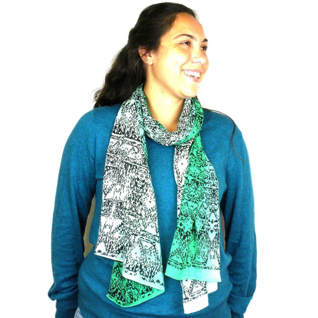 Three Shades Green Cotton Scarf - Asha Handicrafts CoolHatcher at TheArtOfLiving.Earth