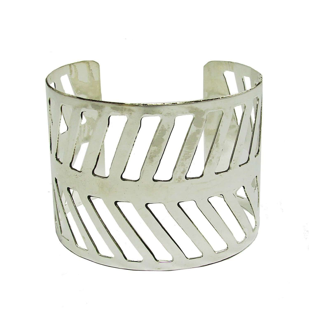 Chevron Path Cuff - silver - WorldFinds CoolHatcher at TheArtOfLiving.Earth
