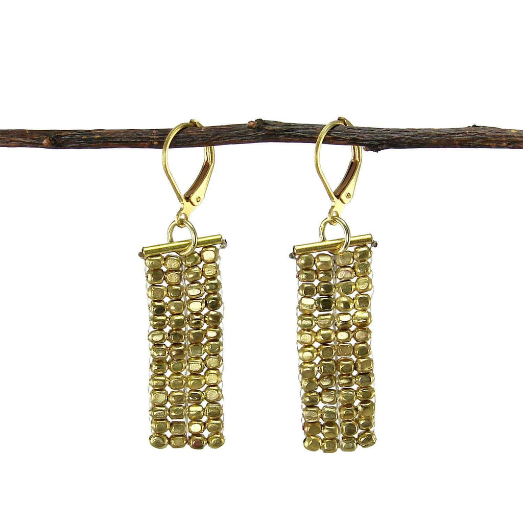 Rectangle Cubist Earrings - gold - WorldFinds CoolHatcher at TheArtOfLiving.Earth