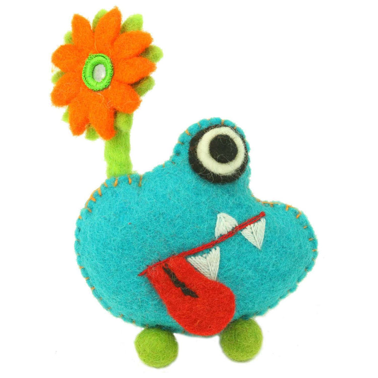 Hand Felted Blue Tooth Monster with Flower - Global Groove CoolHatcher at TheArtOfLiving.Earth