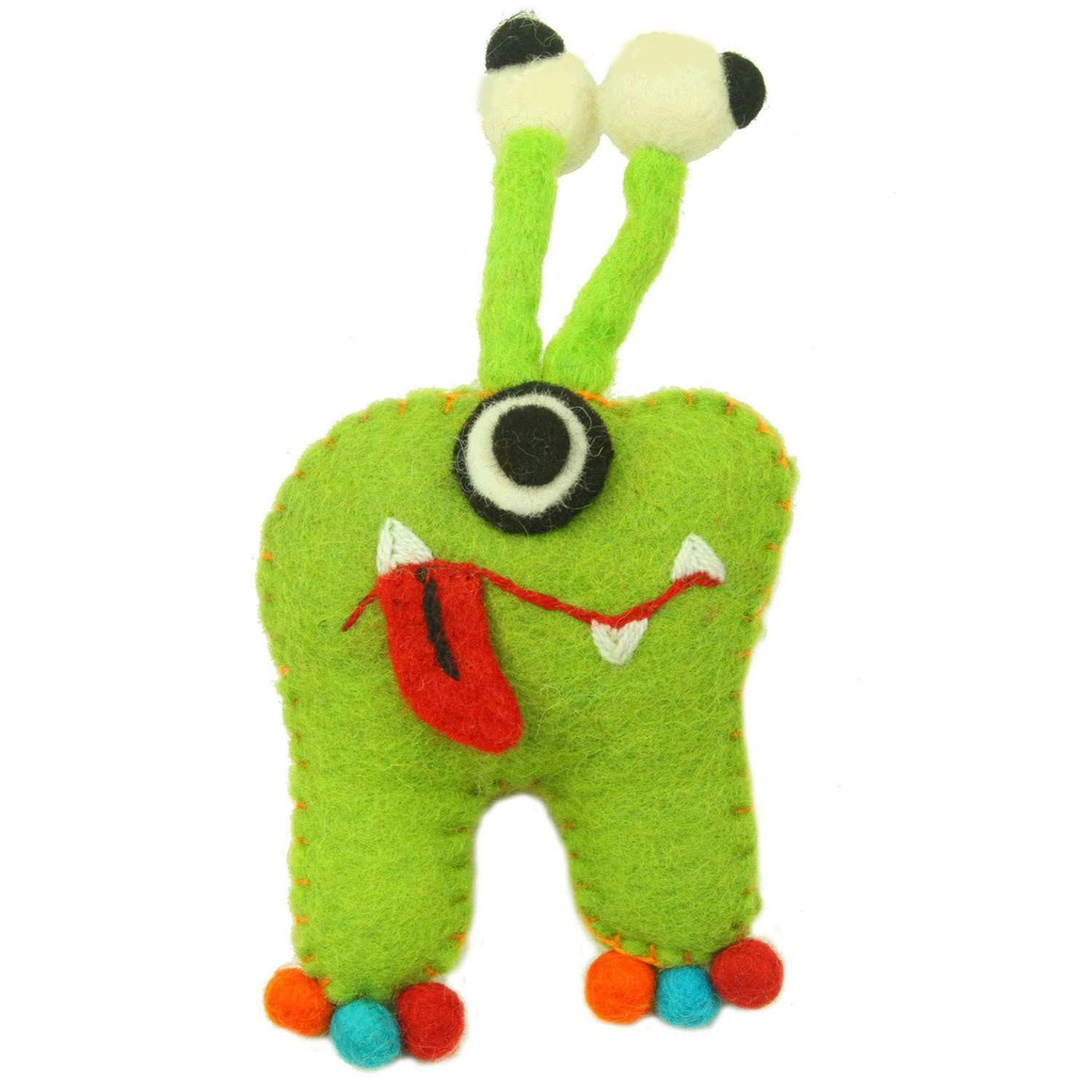 Hand Felted Green Tooth Monster with Bug Eyes - Global Groove CoolHatcher at TheArtOfLiving.Earth