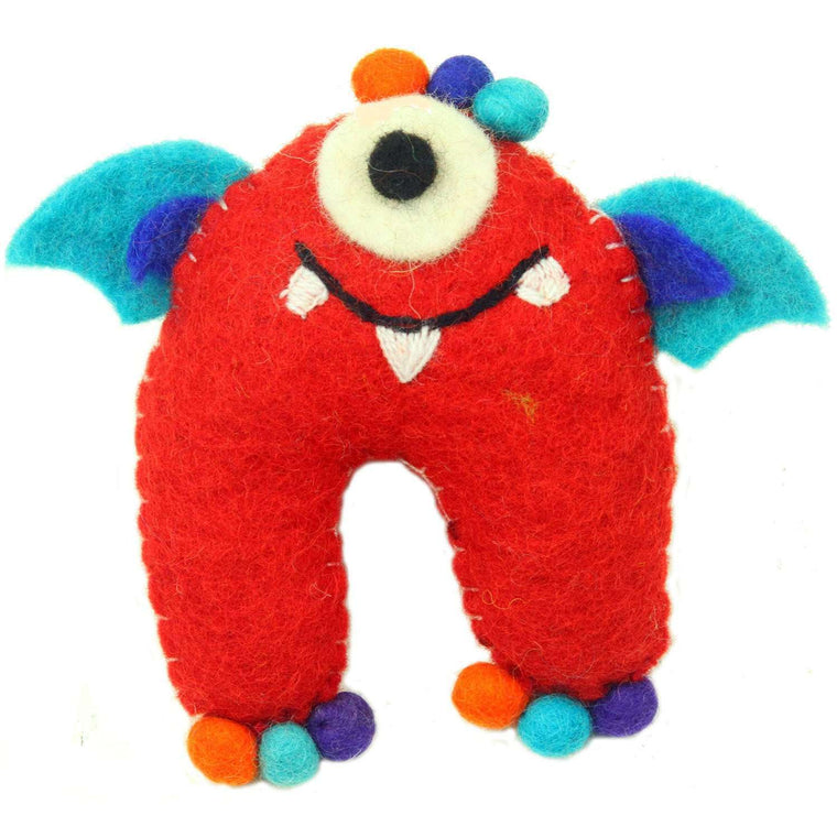 Hand Felted One-Eyed Red Tooth Monster with Wings - Global Groove CoolHatcher at TheArtOfLiving.Earth