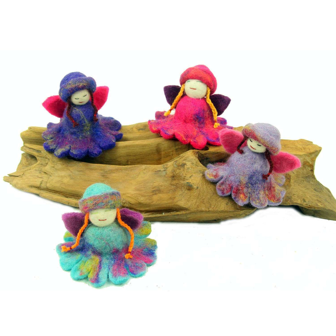 Hand Felted Colorful Flower Fairies - Set of 4 - Global Groove CoolHatcher at TheArtOfLiving.Earth