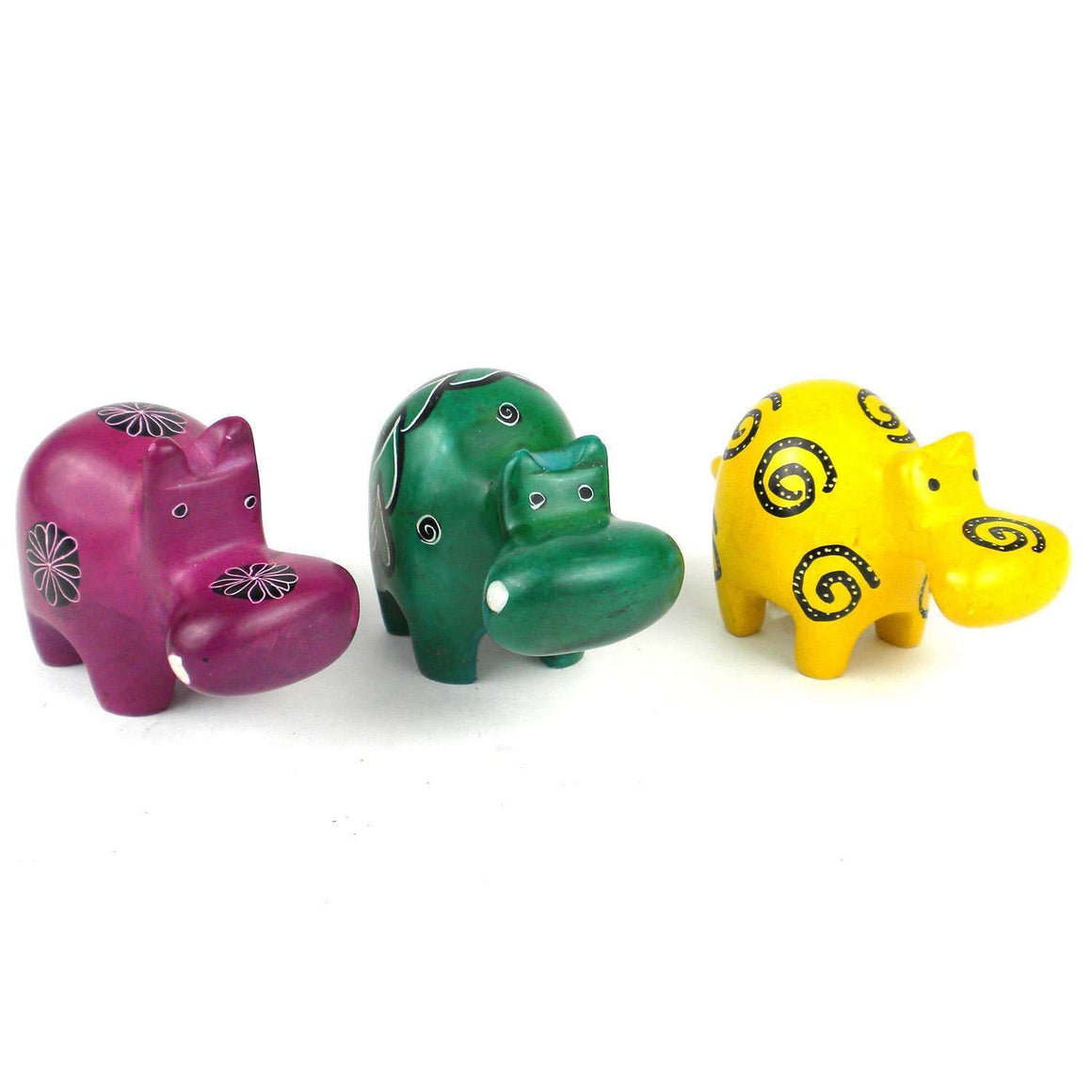 Set of 3 Mini Handcrafted Soapstone Hippos - Smolart CoolHatcher at TheArtOfLiving.Earth