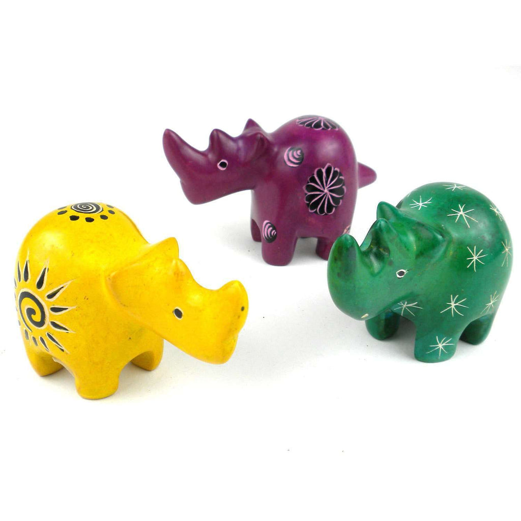 Set of 3 Mini Handcrafted Soapstone Rhino - Smolart CoolHatcher at TheArtOfLiving.Earth