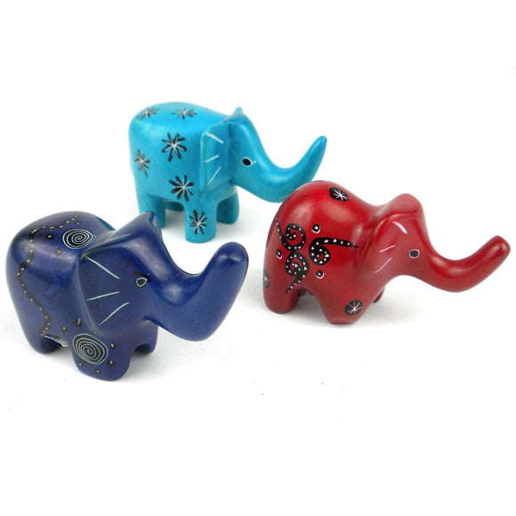 Set of 3 Mini Handcrafted Soapstone Elephants - Smolart CoolHatcher at TheArtOfLiving.Earth