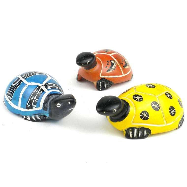 Set of 3 Mini Handcrafted Soapstone Turtles - Smolart CoolHatcher at TheArtOfLiving.Earth