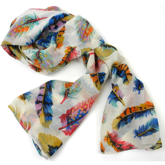 Cream Feather Polyester Scarf - Asha Handicrafts CoolHatcher at TheArtOfLiving.Earth