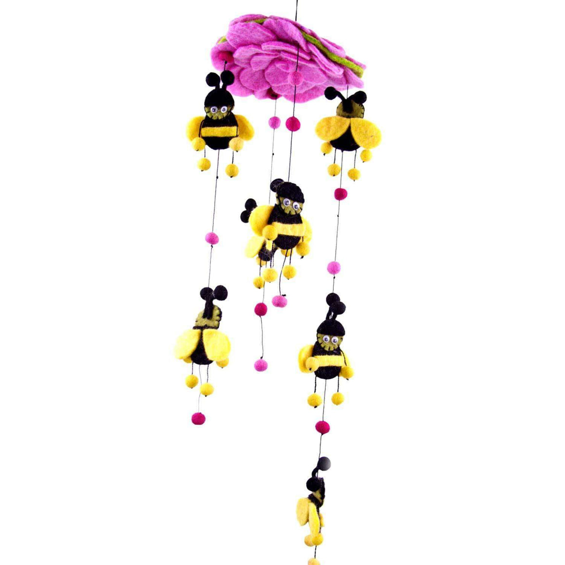 Pink Felt Bumble Bee Mobile - Global Groove CoolHatcher at TheArtOfLiving.Earth