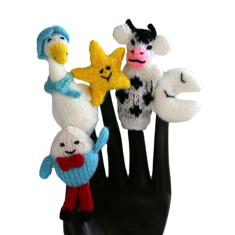 Mother Goose Finger Puppet Set of 5 - Global Handmade Hope CoolHatcher at TheArtOfLiving.Earth