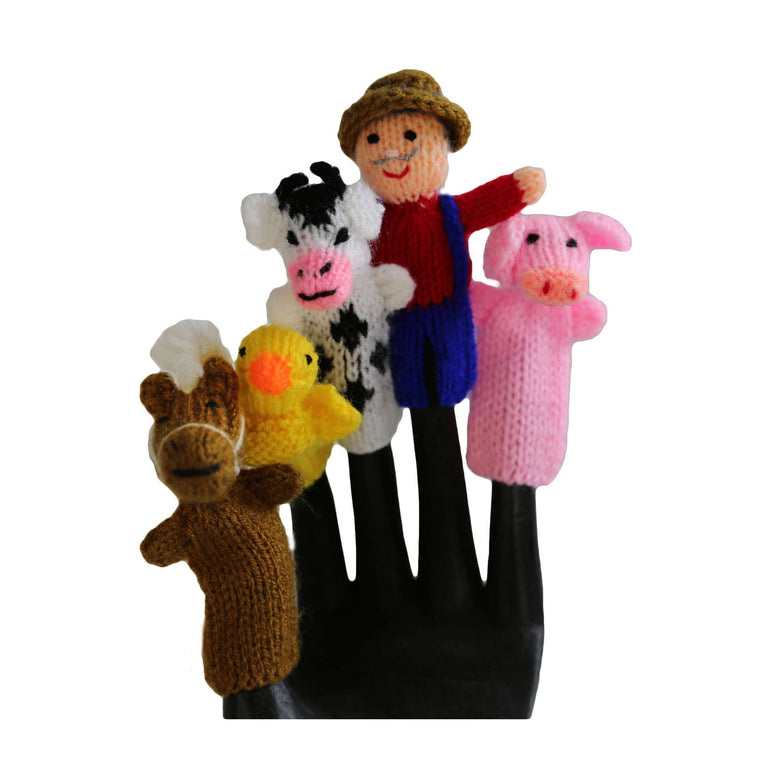 Old MacDonald Finger Puppet Set of 5 - Global Handmade Hope CoolHatcher at TheArtOfLiving.Earth