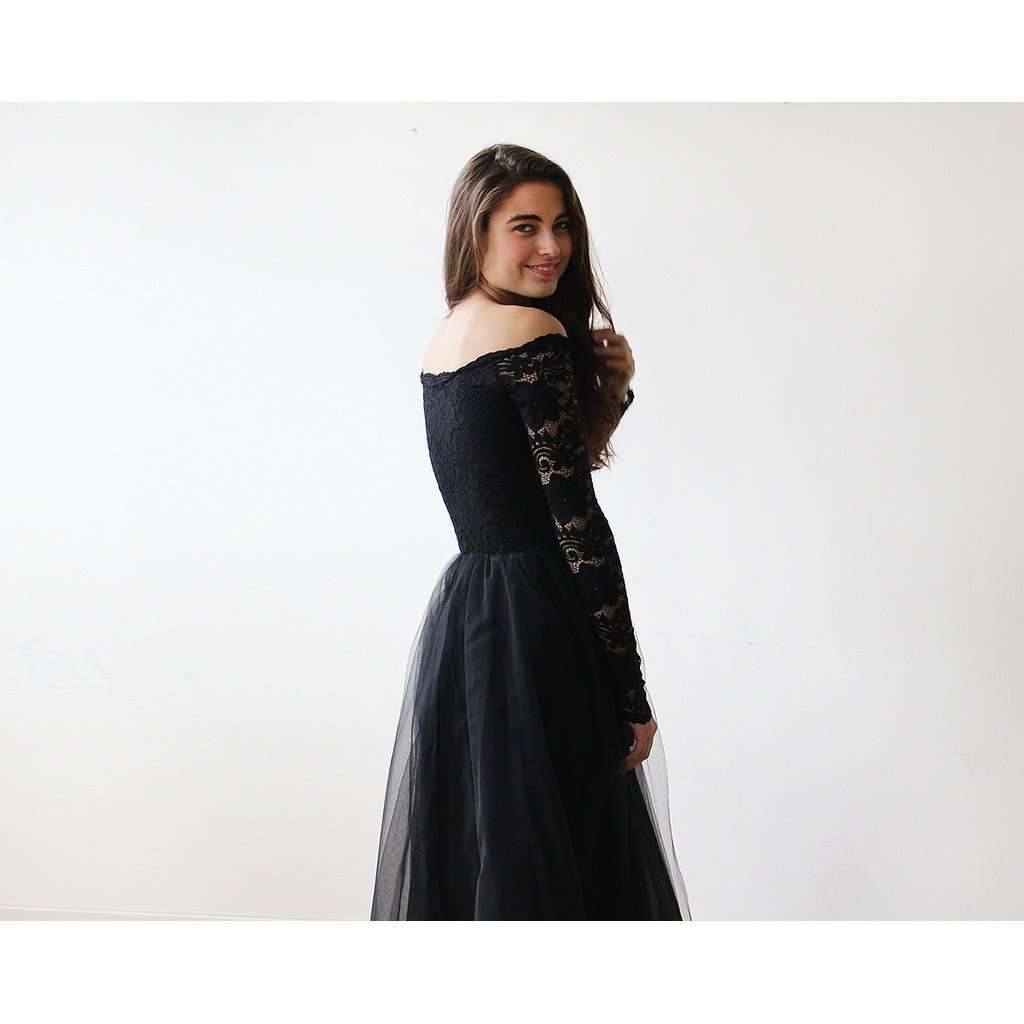 8fe8e38178 Black Off-The-Shoulder Lace and Tulle gown