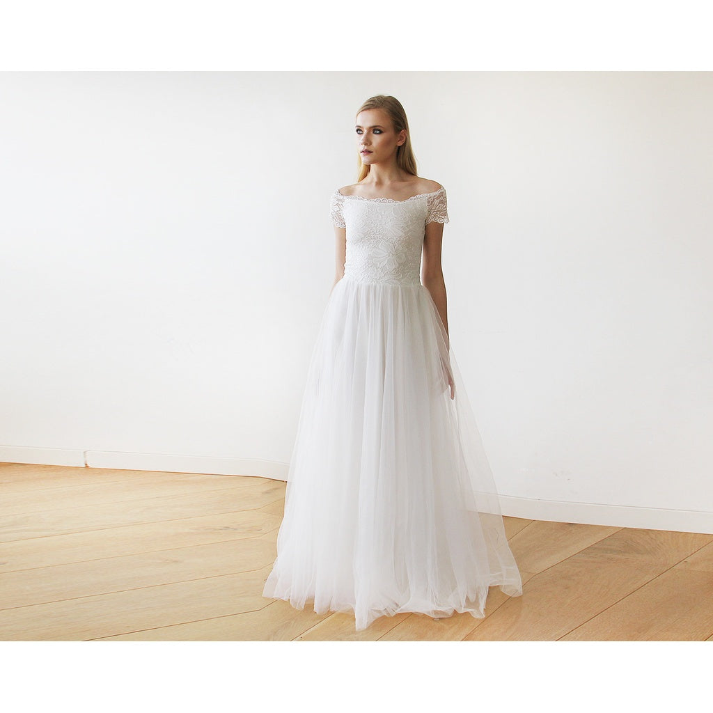 ffb710905225 ... Ivory Off-The-Shoulder Short Sleeves Lace Maxi Tulle Gown 1139  CoolHatcher at TheArtOfLiving ...