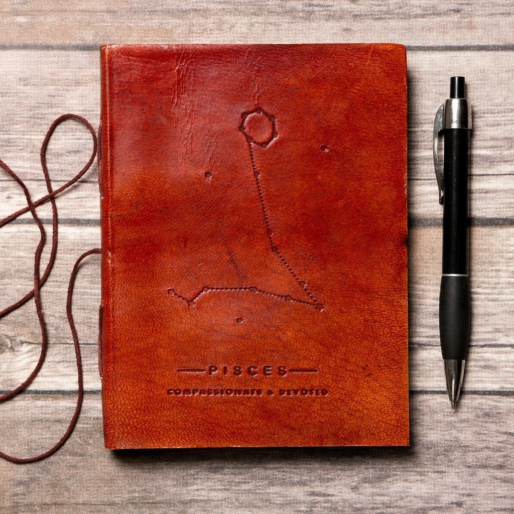 Pisces Zodiac Handmade Leather Journal CoolHatcher at TheArtOfLiving.Earth