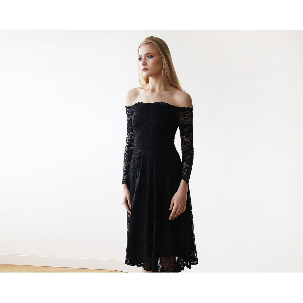 Black Off-The-Shoulder Floral Lace Long Sleeve Midi Dress 1149 CoolHatcher at TheArtOfLiving.Earth