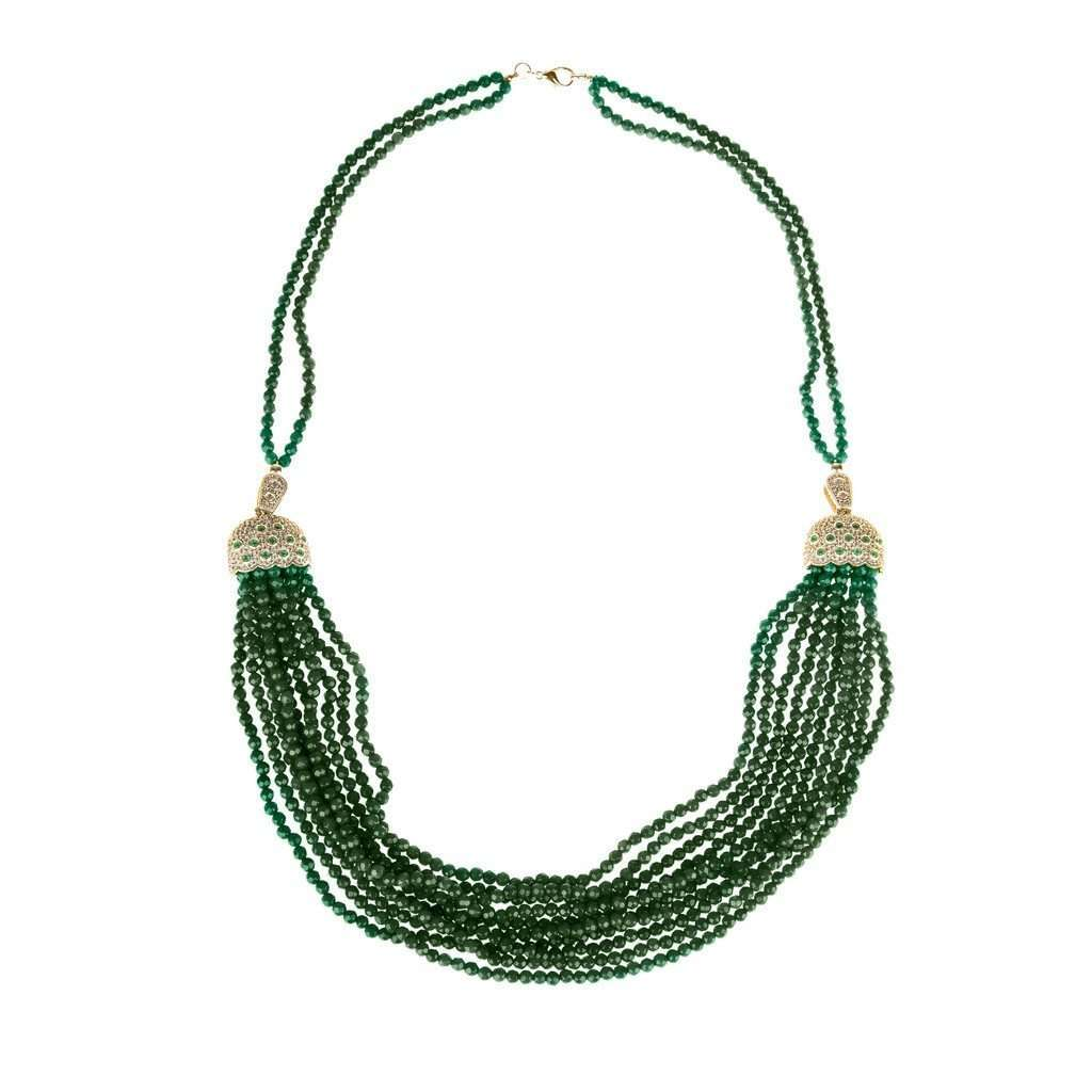 Cascading Tassel Statement Necklace Silver Green Onyx CoolHatcher at TheArtOfLiving.Earth