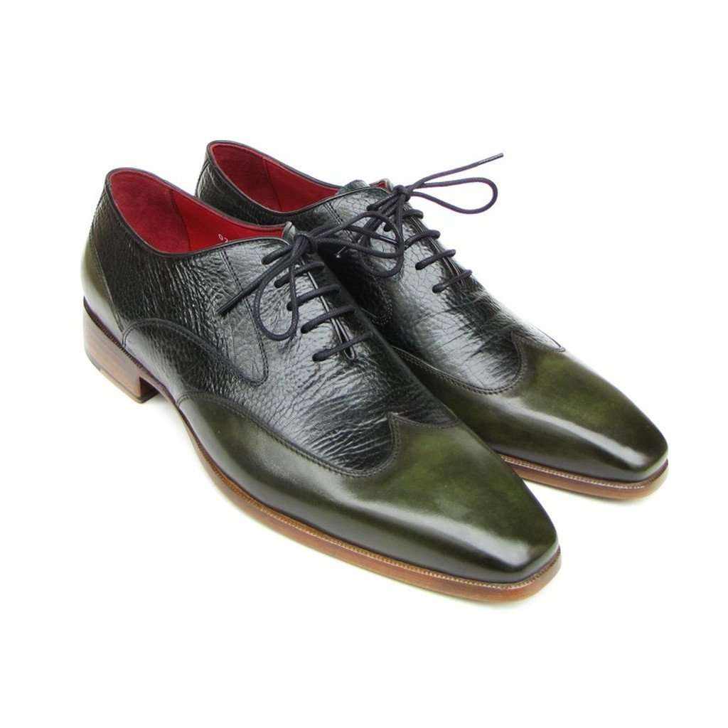 Paul Parkman Men's Wingtip Oxford Floater Leather Green (ID#023-GREEN) CoolHatcher at TheArtOfLiving.Earth