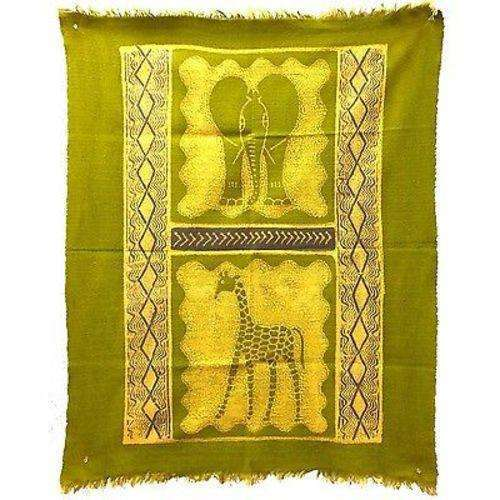 Elephant and Giraffe Batik in Lime/Periwinkle - Tonga Textiles CoolHatcher at TheArtOfLiving.Earth