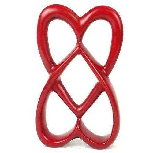 Handcrafted 8-inch Soapstone Connected Hearts Sculpture in Red - Smolart CoolHatcher at TheArtOfLiving.Earth