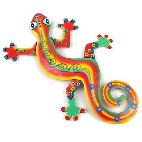 Eight Inch Serious Stripe Metal Gecko - Caribbean Craft CoolHatcher at TheArtOfLiving.Earth