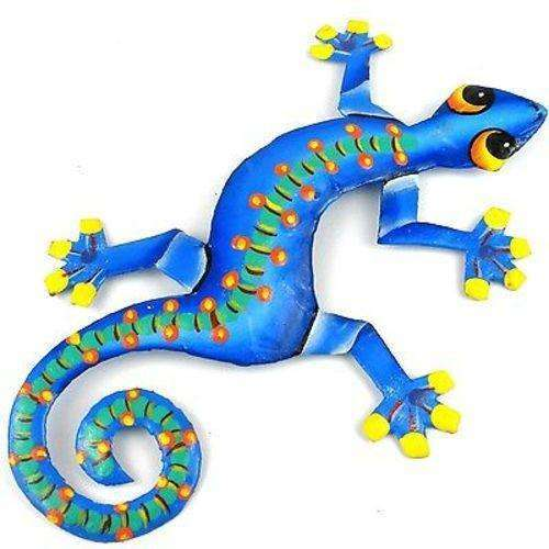 Eight Inch Spotted Spine Metal Gecko - Caribbean Craft