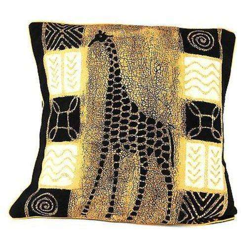 Handmade Black and White Giraffe Batik Cushion Cover - Tonga Textiles CoolHatcher at TheArtOfLiving.Earth